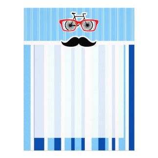 Funny Mustache; Blue & White Stripes Letterhead