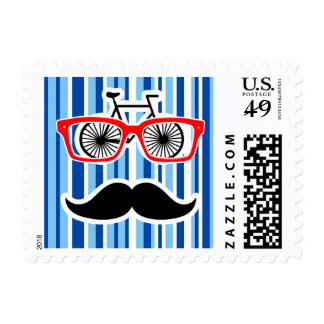 Funny Mustache; Blue & White Stripes Stamps