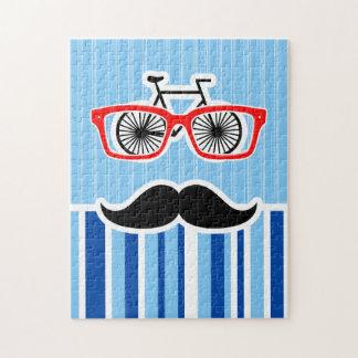 Funny Mustache; Blue & White Stripes Puzzles