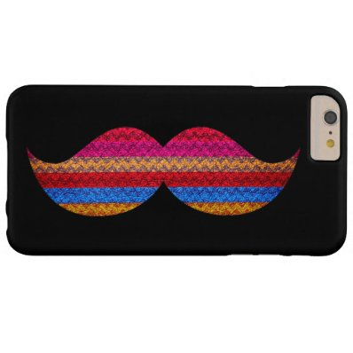 Funny Mustache Chevron Plain Black Background Barely There iPhone 6 Plus Case