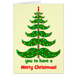 funny mustache Christmas Card