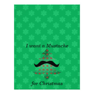"Funny mustache christmas gifts 8.5"" x 11"" flyer"