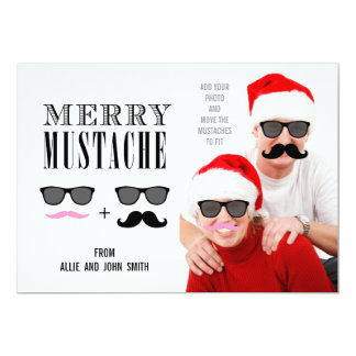 Funny Mustache Christmas Photo Card | Newlyweds