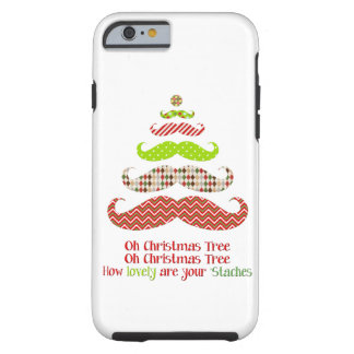 Funny Mustache Christmas tree holiday iPhone 6 cas Tough iPhone 6 Case