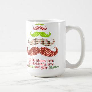 Funny mustache Christmas tree holiday mug