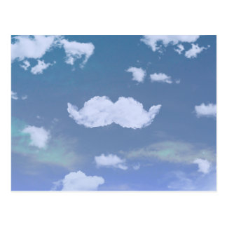Funny Mustache Cool White Clouds Blue Skyscape Postcard