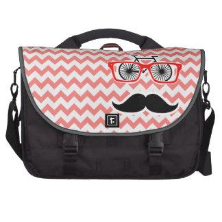 Funny Mustache; Coral Chevron Laptop Computer Bag