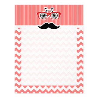 Funny Mustache; Coral Chevron Customized Letterhead
