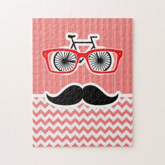 Funny Mustache; Coral Chevron Puzzles