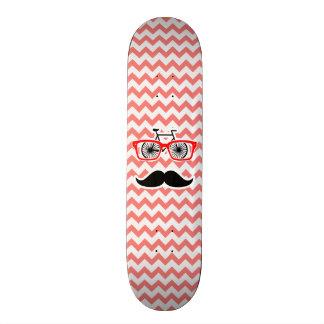 Funny Mustache; Coral Chevron Skateboard