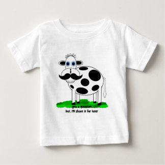 funny mustache cow baby T-Shirt
