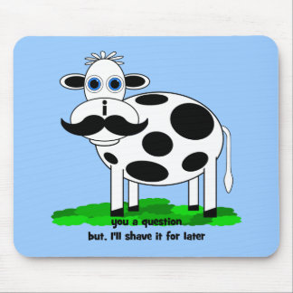 funny mustache cow mouse pad