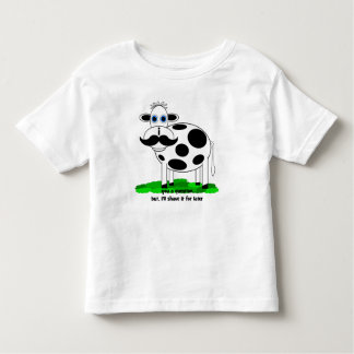 funny mustache cow toddler t-shirt