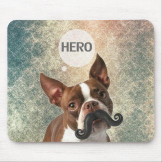 Funny Mustache Dog Photo Design Mouse Pad