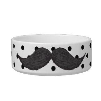Funny Mustache Drawing And Black Polka Dots Bowl