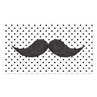 Funny Mustache Drawing And Black Polka Dots Business Card