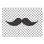 Funny Mustache Drawing And Black Polka Dots Greeting Card