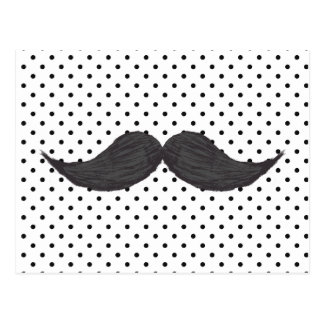 Funny Mustache Drawing And Black Polka Dots Postcard