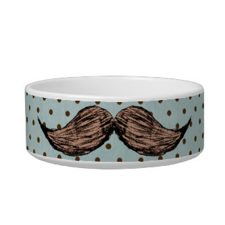 Funny Mustache Drawing And Brown Polka Dots Bowl