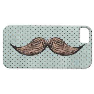 Funny Mustache Drawing And Brown Polka Dots iPhone SE/5/5s Case