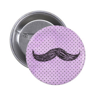 Funny   Mustache Drawing With Purple Polka Dots 2 Inch Round Button