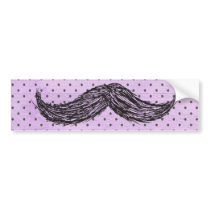 Funny   Mustache Drawing With Purple Polka Dots Bumper Sticker
