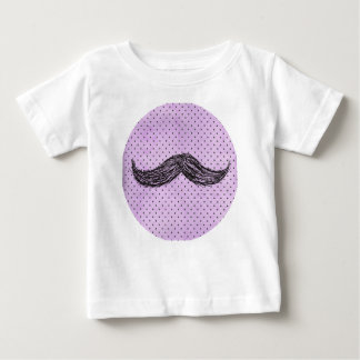 Funny   Mustache Drawing With Purple Polka Dots T-shirt