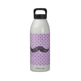 Funny   Mustache Drawing With Purple Polka Dots Reusable Water Bottles