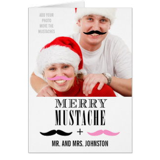 Funny Mustache First Christmas Photo Card