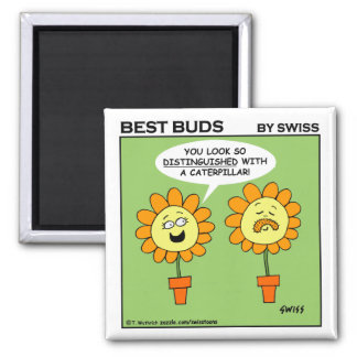 Funny Mustache Flower Cartoon Fridge 2 Inch Square Magnet
