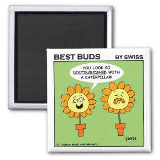 Funny Mustache Flower Cartoon Fridge 2 Inch Square Magnet