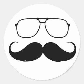 funny mustache glasses in black classic round sticker