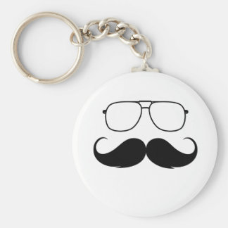 funny mustache glasses in black keychain
