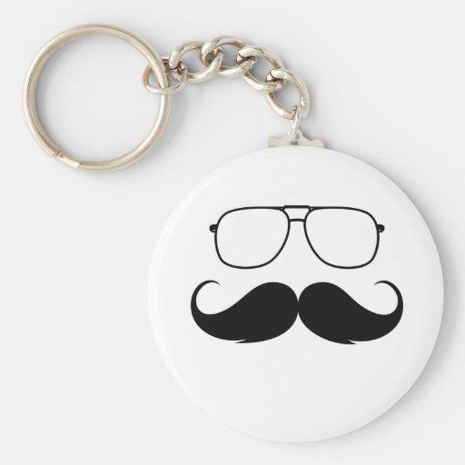 funny mustache glasses in black key chain
