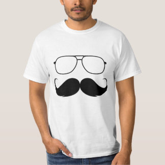funny mustache glasses in black T-Shirt