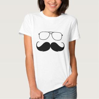 funny mustache glasses in black t-shirt