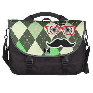 Funny Mustache; Green Argyle Bag For Laptop