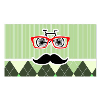 Funny Mustache; Green Argyle Business Card