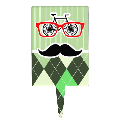 Funny Mustache; Green Argyle Cake Toppers