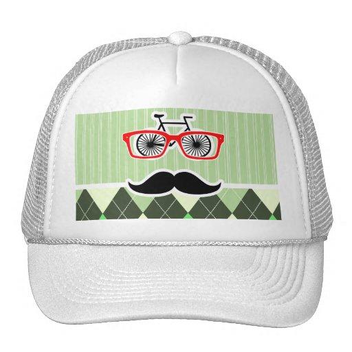 Funny Mustache; Green Argyle Hat
