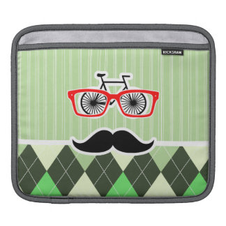 Funny Mustache; Green Argyle iPad Sleeves