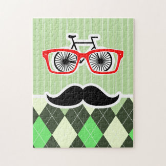 Funny Mustache; Green Argyle Jigsaw Puzzles