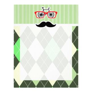 Funny Mustache; Green Argyle Custom Letterhead