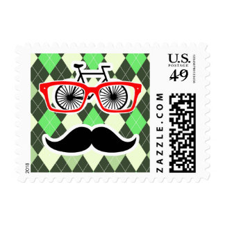 Funny Mustache; Green Argyle Postage