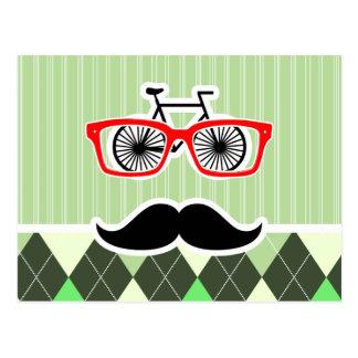 Funny Mustache; Green Argyle Postcard