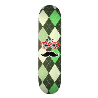 Funny Mustache Green Argyle Skateboards
