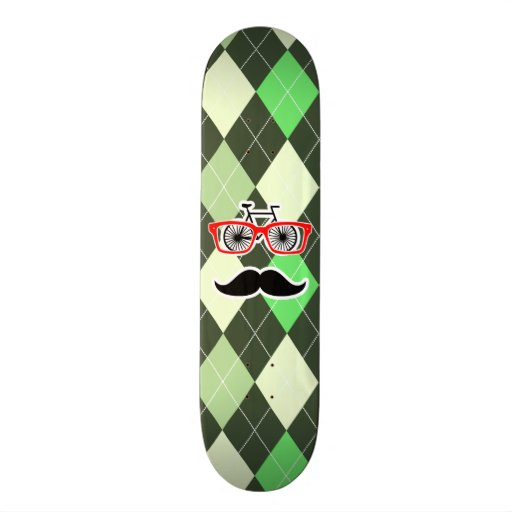 Funny Mustache; Green Argyle Skateboards