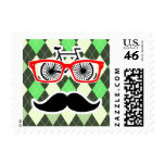 Funny Mustache; Green Argyle Stamps