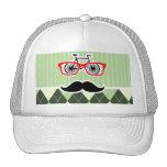 Funny Mustache; Green Argyle Trucker Hat