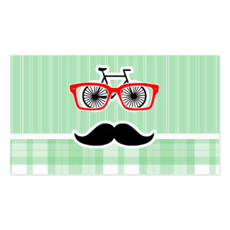Funny Mustache, Green Plaid Business Card Template